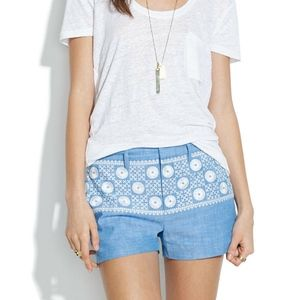 MADEWELL Chambray Sunstitch~Embroidered Shorts 12